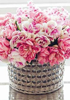 Pink variety sprint bouquet in silver basket vase. The perfect palate blog.