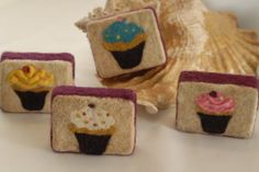 """We could hardly wait to share these amazing felted soaps with you! Designed and felted by Dominika and Magdalena, two European girls living in New York and creating together. """"Hello, we are two gir… Felted Soap Tutorial, Needle Felting Supplies, Cupcake Soap, Wool Dryer Balls, Art Storage, European Girls, Nuno Felting, Handmade Soaps, Wool Felt"""