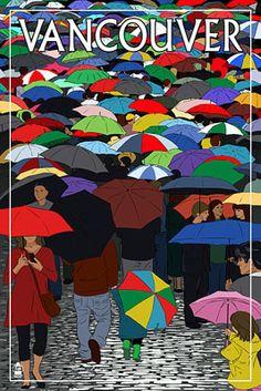 Umbrellas - Vancouver, BC - Lantern Press Poster