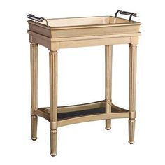 Powell Masterpiece Mia Gold Wood and Mirrored Glass Serving Tray Accent Table (Glamour Finish) Mirrored Serving Tray, Mirrored Accent Table, Powell Furniture, Furniture Making, Serving Table, Decorative Mouldings, Gold Wood, Elegant Table, Discount Furniture