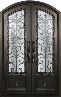 Fleur-De-Lis Wrought Iron Front Entry Double Door