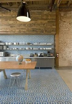 Wow!!! Amazing floor and wall tile. Want this to be my kitchen!