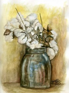 """Crock with Cotton Bouquet"" My latest watercolor was inspired by my sister's love for cotton. I guess since we were raised near ""those good ole' cotton fields back home"" in Arkansas...it is in our blood. :-) by connie baten"