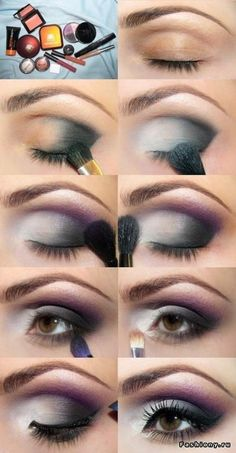 Eye Makeup Tips and Advice Eyes occupy the most prominent place among the five sensory organs of our body. Large and beautiful eyes enhance one's beauty manifold. Healthy eyes are directly related to general health. Use eye-make up v Purple Smokey Eye, Smoky Eyes, Smokey Eye Makeup, Black Smokey, Smokey Eyeshadow, Eyeshadow For Brown Eyes, Best Eyeshadow, Makeup For Brown Eyes, Eyeshadow Makeup