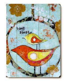 'Live Simple' Birds Wood Wall