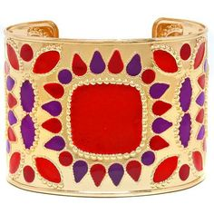 Elegant Chunky Red Purple Decorative Design Gold Tone Wide Cuff Bangle Bracelet Elegant Costume Jewelry featuring polyvore women's fashion jewelry bracelets accessories red cuff bracelet gold bangles red cuff bracelet gold costume jewellery gold jewelry