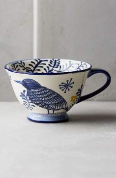 Anthropologie's collection of mugs and teacups are perfect for starting a relaxing morning with a cup of tea. Browse our unique mugs today. Ceramic Cups, Glazed Ceramic, Ceramic Pottery, Ceramic Art, Pebeo Porcelaine, Mythical Birds, Cute Cups, Blue And White China, Dark Blue