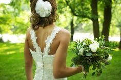 Gorgeous custom wedding gown, accessories and beautiful eucalyptus bridal bouquet!