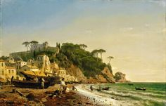 Porto Venere am Ligurischen Meer = Porto Venere on the Ligurian Sea Andreas Achenbach (German; 1853 Oil on panel Kunsthaus Lempertz, Cologne Seascape Paintings, Landscape Paintings, Landscapes, Costa, Road Painting, Painting Art, European Paintings, Andreas, Traditional Paintings