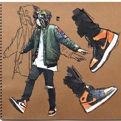 Bape x Air Jordan Dope sketch by designer Head over to his page to che… Bape x Air Jordan Dope sketch by designer Head over to his page to check out his work and hit him up for your graphic or web design needs Character Drawing, Character Concept, Concept Art, Arte Dope, Dope Art, Mode Cyberpunk, Art Sketches, Art Drawings, Rauch Fotografie