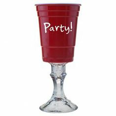 """Featuring a pedestal base with a party cup-inspired top, this whimsical goblet brings distinctive style to your collection of entertaining essentials.  Product: GobletConstruction Material: MelamineColor: RedFeatures: Typographic motifDimensions: 9.75"""" H x 3.5"""" Diameter"""