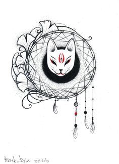 9 Tailed Kitsune Tattoo Kitsune mask tattoo mask by