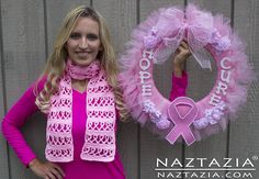 DIY Free Pattern Crochet Pink Ribbon Awareness Breast Cancer Scarf and Shawl also for Other Causes with YouTube Tutorial Video by Naztazia