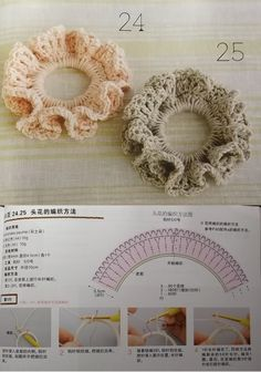Crochet Scrunchie - Tutorial. ༺✿Teresa Restegui http://www.pinterest.com/teretegui/✿༻