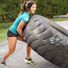 """""""If you love what you're doing, you will be successful.""""    Always laughing... And trying not to take training so serious. Here is my first attempt at trying to pick up this huge tire at my @boxlifemagazine photoshoot. Haha  #CrossFitGirls #LoveWhatIDo #ThisIsFun"""