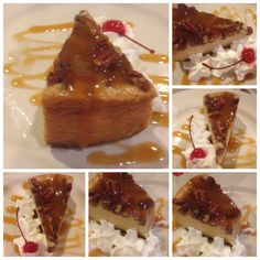 Caramel Praline Topped Cheesecake Collage