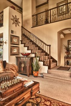 Thomas O Brien Stairs, Centre Tables, Living Room Divider,  & Newell Posts - Eclectic Staircase By Suzanne O'brien
