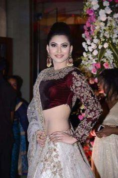 Actress Urvashi Rautela wearing KALKI Fashion for Neil Nitin Mukesh's wedding in Mumbai