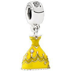 """Pandora Disney Collection  Disney Belle dress dangle in sterling silver with medium and dark-yellow enamel with engraving """"Belle"""" on the bail  This sweet and stylish dangle charm features the golden-yellow, ruffled ball gown worn by Belle in Beauty and the Beast. Just like Belle brought love and laughter to the castle, this cheerful yellow charm will bring a lighthearted element to your collection.  U.S. Patent No. 7,007,507"""