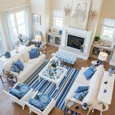 Salas Modernas en Azul y Blanco (13 Ideas)