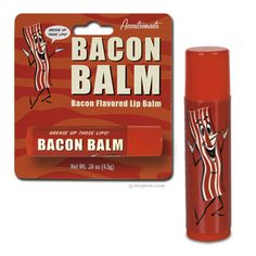 Bacon Lip Balm, Bacon Chapstick, Bacon Stuff, Funny Lip Balm, Cool Bacon Stuff at PalmerCash.com    I realize everybody loves bacon, but do you really want to be licking it off your lips all day?