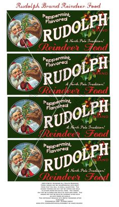 Vintage Christmas Reindeer Food Label Tag Digital Download Collage Sheet Printable - Tag Card Scrapbook Image