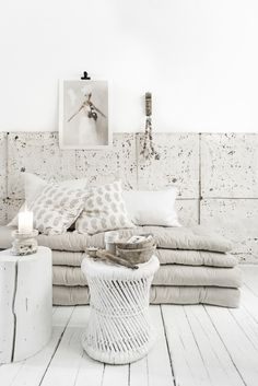 White, ethnic style. Block printed paisley cushion covers and rustic Indian homewares from Alabaster Trader. Photoshoot by Paulina Arcklin.