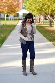 Fall Outfit Inspiration featuring a cozy golden Lauren Conrad Sweater from ThredUp and paired with a military puffer vest from Mint Julep. Dressed up with pearls and tassel earrings, this outfit is great for those cool fall days. Get the complete outfit d