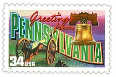 The Pennsylvania State Postage Stamp  Depicted above is the Pennsylvania state 34 cent stamp from the Greetings From America commemorative stamp series. The United States Postal Service released this stamp on April 4, 2002. The retro design of this stamp resembles the large letter postcards that were popular with tourists in the 1930's and 1940's.
