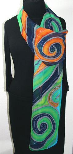 silk scarves | Ocean Spirit Hand Painted Silk Scarf in Turquoise, Teal and Orange - 3