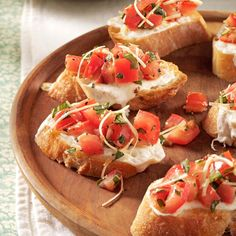 Fresh Tomato Bruschetta Recipe -The topping for this simple Fresh Tomato Bruschetta appetizer can be put together ahead of time and refrigerated. We also love it on top of grilled chicken sandwiches, hamburgers and homemade pizza. —Samantha Cass, Swartz Creek, Michigan