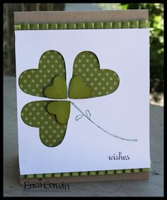 handmade card for St Patrick's Day ... clean  simple ... heart clover/shamrock ... negative space and  smaller popped hearts ... Stampin' Up!