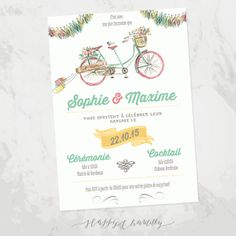 faire-part-mariage-velo-tandem-dessin-fanion-champetre-illustration-aquarelle-kraft