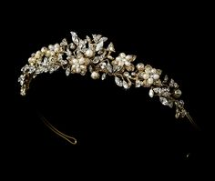 Floral Gold Plated Freshwater Pearl and Rhinestone Wedding Tiara