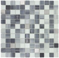 Gl Mosaic Tile Stainless Steel Blend Grey