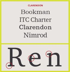 Serif Type Style Category: Clarendon Serifs (four examples). Typefaces patterned after the Clarendon type styles released in the mid 19th century and designed as bold faces to accompany text composition. Their stroke contrast is slight; serifs tend to be short to medium length. Later, many of these designs were released at larger point sizes as display types. Character stroke weight that is more obvious, and serifs that tend to be longer mark more current interpretations of this style.