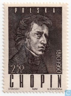 Postage Stamps - Poland [POL] - Portrait of Chopin Frederick Chopin, Classical Music Composers, Postage Stamp Art, First Day Covers, Chant, Vintage Stamps, Small Art, Art Themes, Stamp Collecting