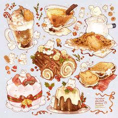 Cute Food Drawings, Cute Kawaii Drawings, Kawaii Art, Winter Desserts, Food Doodles, Cute Doodles, Cute Food Art, Cute Art, Dessert Illustration