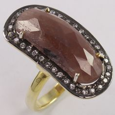 Natural MULTI SAPPHIRE & CZ Gems 925 Sterling Silver Gold Plated Ring Sz US 7.75 #Unbranded