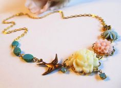 Biddy Vintage Bird Necklace by 4TasteofShabbyChic on Etsy, $38.00
