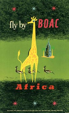 Travel Vintage Gazelle Giraffe Poster