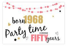 uitnodiging 50 jaar verjaardag - sarah - slingers