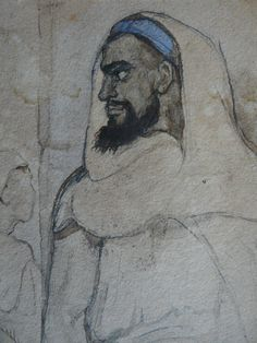 CHASSERIAU Théodore,1846 - Arabe barbu et autres Figures - drawing - Détail 18