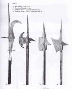 Italian Bill (Roncone), Pole Axe, Two Halberds