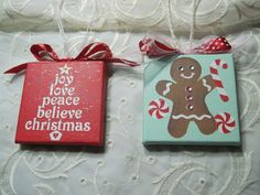 """Adorable hand painted 3"""" x 3"""" mini canvas Christmas ornaments. Each ornament is embellished with ribbon and sparkling with subtle glitter effects. See the other pictures for a closer view. The glitter"""