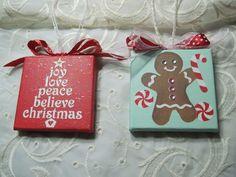Hand Painted mini Canvas Christmas Holiday Ornament Joy Tree Gingerbread Boy