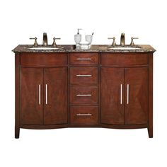 Silkroad Exclusive Cambridge Dark Chestnut Undermount Double Sink Bathroom Vanity with Granite Top (Common: 58-in x 22-in; Actual: 58-in x 22-in)