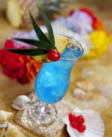 Blue Hawaii    Ingredients:    3/4 oz. light rum  3/4 oz. vodka  1/2 oz. blue curacao  3 oz. pineapple juice  1 oz. sweet & sour mix  Instructions:   Combine all ingredients   mix well  add ice  garnish with a slice of pineapple  enjoy these baby shower refreshments