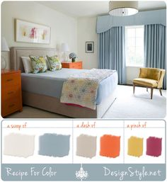 Blue yellow orange rooms on pinterest blue orange - Orange and light blue bedroom ...