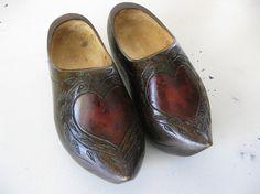 vintage. SHOES. danish. WOODEN. brown. HEART. by poppyfrockvintage, $68.00